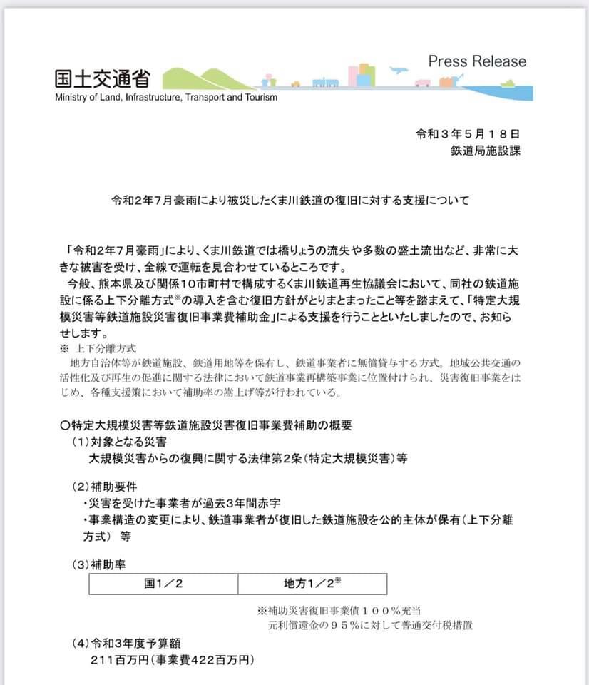 くま川鉄道の復旧について
